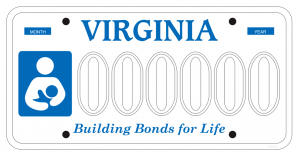 The proposed Virginia license plate supporting breastfeeding as Building Bonds for Life.